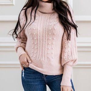 Rachel Parcell Cable & Bobble Turtleneck Sweater Pink size XXL